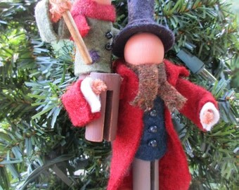 Bob Cratchit and Tiny Tim Christmas Ornament, Clothespin