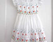 Vintage Girls Dress - White Organza Sheer Fabric - Floral Embroidery - Flower Girl Dress - Voile -