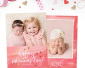 SALE Valentine's Day Card Template, Valentine's Day Card for Photoshop, Holiday Card Templates, Photography Templates VD124