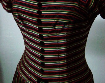 1950s Vintage Striped Taffeta Dress with Crinoline and Velvet Accents Bust 38 Waist 29