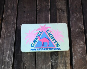 Camel Tin with Matches - Camel collectibles - vintage Camel matches - tin with hinging lid - Joe Camel - Camel cigarettes memorabilia