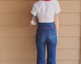 Amazing Vintage High Waisted 70's Kick Flare Jeans // Women's size XS Petite 24