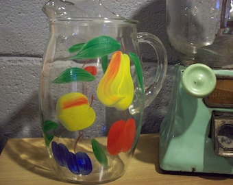 GAY FAD FRUIT Beverage Pitcher Water Juice Drink Clear Glass