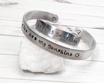 Mother Daughter Bracelets - You Are My Sunshine Bracelets - Hand Stamped Cuffs - Matching Mother Daughter Bracelets - Personalized Cuffs