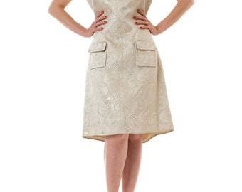 1960s Mod Metallic Jacquard Collared Sleeveless Shift Dress with Patch Pockets SIZE: S/M, 6