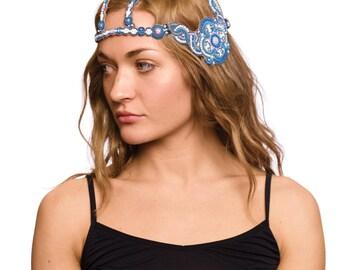 Vintage Beautiful 1920s Blue Beaded Headpiece