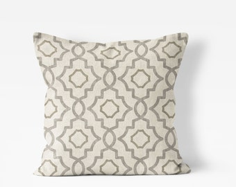 "Farmhouse pillow cover,trellis print, throw pillow 18""x18"", 20""x20"", 22x22 or 24""x24"" tan and gray, beige, neutral colors, sofa pillow"