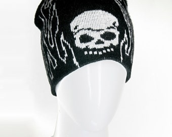 90s Skull Flames Knit Beanie Skullcap