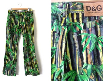 "Dolce Gabbana Safari Print Flared Pants - D&G Bell Bottoms 90s Designer Vintage Palm Trees 5 Pocket Jeans - 30"" waist"