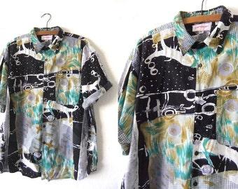 Paint Splash Button Down Shirt - Vaporwave 90s Hip Hop Style Abstract Baggy Short Sleeve Shirt - Mens XL