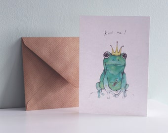 CARD Kiss Me - Frog Princess Crown greetings card with kraft envelope watercolor drawing fairytale decor