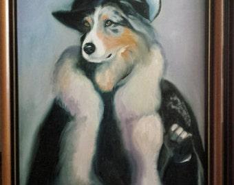Original Oil Painting - Dog Portrait - At The Railway Station - Parisian Gentleman - Animals Pets Canvas Contemporary Wall Art