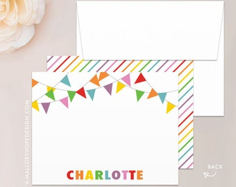 Banner Stationery Set, Note Card, Thank You Card w/ Envelope - Kids Stationery, Rainbow Thank You Card, Customize w/ Name or Monogram