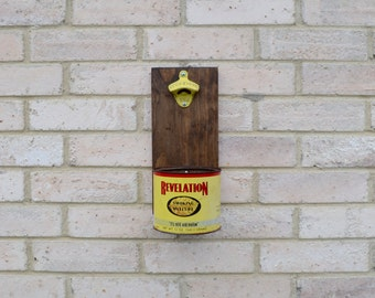 Vintage Revelation Tobacco Tin Bottle Opener Cap Catcher Rustic Metal Cap Catcher Cast Iron Bottle Opener Wall Mounted Made in USA Man Cave