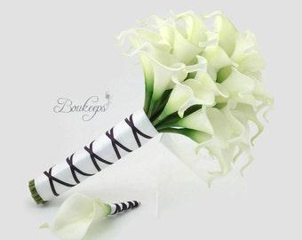 White Calla Lily Bouquet, Ivory Calla Lily Bouquet, Bridal Bouquet, Real Touch White Calla Lily Bouquet, Boutonniere, White and Purple