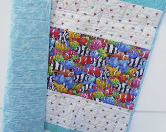 Clown Fish Baby Quilt Rainbow Fish Sailboats Batiks Toddler Row Quilt Play Pad