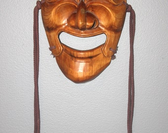 Vintage Korean Hand Carved Wood Mask Male w/ Moveable Jaw Theater Comedy Mask, Antique Alchemy