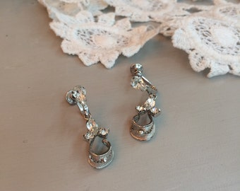 Sterling Filigree and Rhinestone Dangle Earrings Screwback Earrings