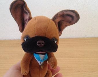 To order French bulldog Armel, teddy dog, Artist teddy bears, OOAK handmade bear, jointed bear