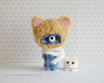 fuzzy Bear in kitty helmet hat, kawaii amigurumi bear, blue mix plush, stuffed mini owl
