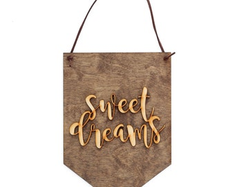 Sweet Dreams - Baby Shower Present - Nursery Wall Hanging - Nursery Decor - Sweet Dreams Decor - Girl Nursery Art - Boy Nursery Art - Wood