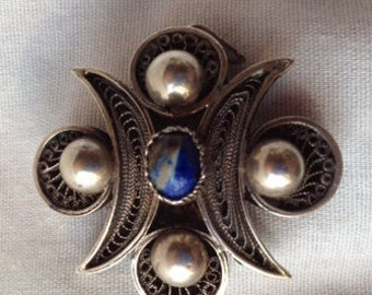Antique Hand Made Sterling Silver & Lapis Mexican Brooch Pendant