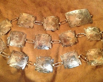 Hand Made Vintage Native American Sterling Silver Concho Belt