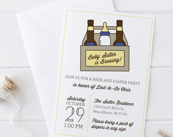 Six Pack Beer & Diapers- Dad's Diaper Party Shower Invitation