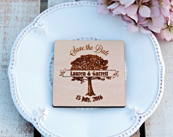 Tree Save The Date, Wooden Save The Date Magnet, Custom Maagnet, Rustic Save The Date Magnet, Wedding Magnet, Wedding Save the Date Magnet