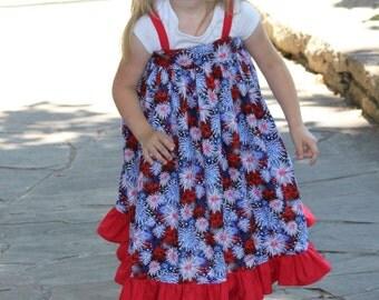 Patriotic dress - Girls Ruffle Dress - Girls Red dress - Girls White Dress - Girls Blue Dress - Party Dresses For Girls - Girls Summer Dress
