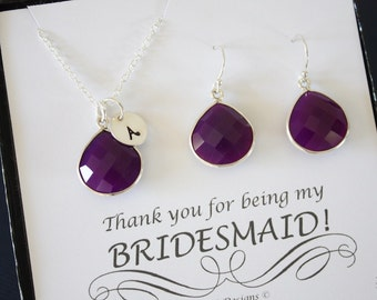 3 Initial Bridesmaid Necklace and Earring set Purple, Bridesmaid Gift, Plum Gemstone, Sterling Silver, Initial Jewelry, Personalized