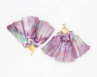 MAGIC 43 / Dyed cotton tassel & Metal statement earrings - Ready to Ship