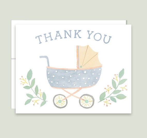 Vintage Baby Shower Thank You Cards: Baby Shower Thank You Cards Vintage Baby Carriage Thank You