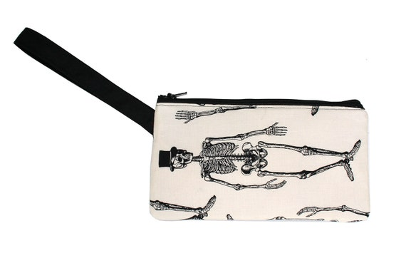 Skeleton, top hat, Halloween, wristlet