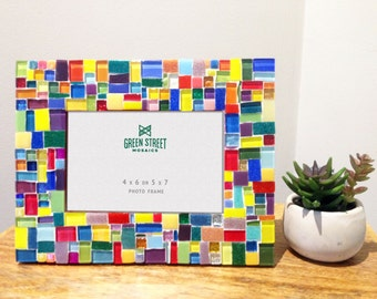 Multicolored Mosaic Picture Frame, Rainbow Frame 4 x 6 or 5 x 7