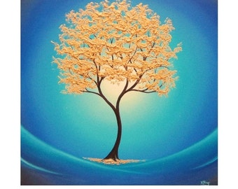 Gold Tree Print, Abstract Tree Art Print, Giclee Print of Golden Tree Blue Landscape, Contemporary Art Home Decor, Blue and Gold Wall Art,