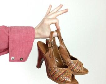 Brown Leather Heels - Peep Toe Slingbacks - Ladies Size 4 1/2