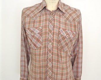 Vintage Plaid Western Shirt with Pearl Snaps & Gold Thread / BJ-R cowboy shirt / men's large