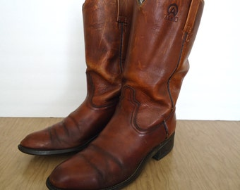 Vintage Brown Leather Motorcycle or Western Boots / US men's 9