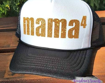 Mama4 Trucker Hat, Mother of 4, 4 Kids, Mom Life, #MomLife, Colored Trucker Hat, Trucker Hat, Snapback Hat, Pink White Hat, Red, Black/White