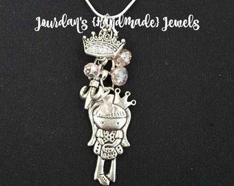 Pretty Princess Charm Necklace, Little Girl Charm Necklace, Crown Charm Necklace, Gift for Little Girls, Girl Charm Necklace, Silver, Pink