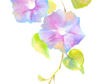 Flower, Flower Print, fine art print, giclee art, art print, Watercolor giclee, colorful Morning Glory, Original watercolor pastel print