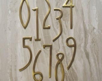 Art Deco Matte Brass House Door Numbers & Letters