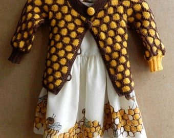 Autumn set for girls. Funny bees painted  dress and wool knitted jacket. Ready to ship.