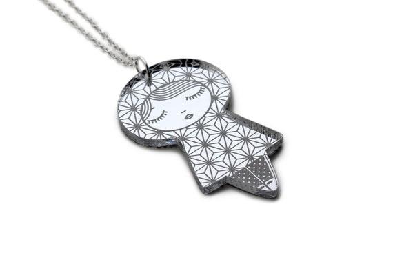 Asanoha doll necklace - kokeshi pendant - matriochka jewelry - graphic russian doll - Japanese jewellery - lasercut acrylic silver mirror