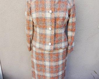 80's Plaid Suit, Matching Blazer and Skirt Suit, Preppy, Conservative, Clueless, Vintage Clothing, 80's Suit, Vintage 90's Suit