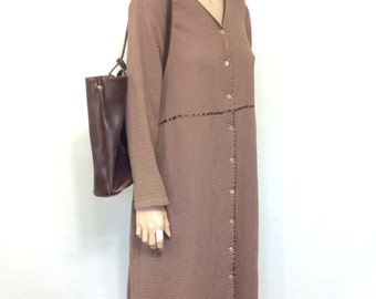 Vintage Sack Dress 90's Dress J Jill 80's Minimalist Dress Brown Oversized Dress Boho Hippie Slouchy Dress Baggy Clothing XL P