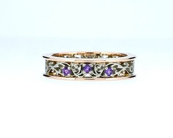 Amethyst filigree ring, rose gold engagement, white gold, purple wedding ring, amethyst wedding, custom, filigree ring, two tone, violet