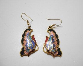 Beautiful Cloissone Butterfly Dangle Pierced Earrings (2173)