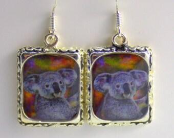 Kuala Bear Earrings Silver 3D Dimensional Picture Square Gray Australia Animal